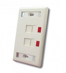 Faceplate Standard Kit, 2 Port, shuttered, Almond